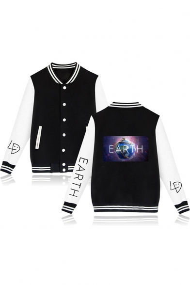 Hot Fashion Galaxy Earth Printed Colorblock Long Sleeve Button Down Varsity Baseball Jacket