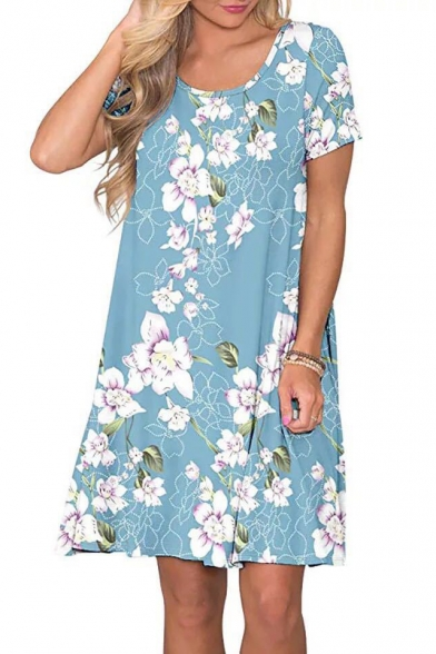 Light Blue Floral Printed Round Neck Short Sleeve Mini Swing Dress
