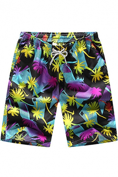 Men's Summer Tropical Print Drawcord Waist Fast Drying Loose Fit Beach Swim Shorts