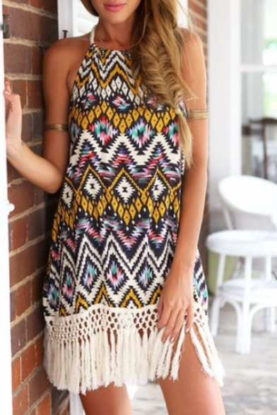 New Fashion Tribal Printed Halter Neck Tassel Hem Mini Beach Dress for Women