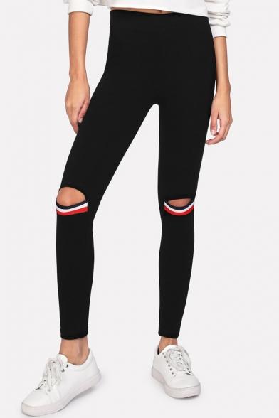 New Trendy Cool Striped Knee Cutout Black Slim Fit Leggings for Women
