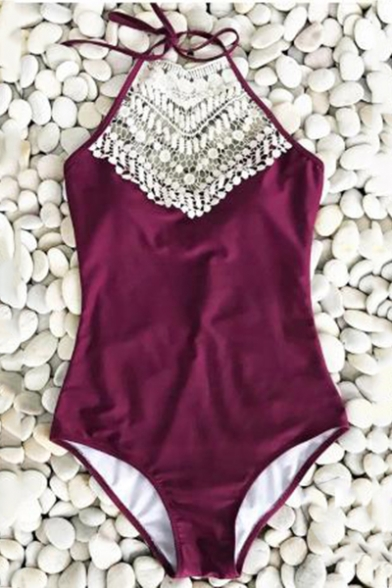 New Trendy Fashion Crochet Tassel Halter Neck Purple One Piece Swimsuit for Women