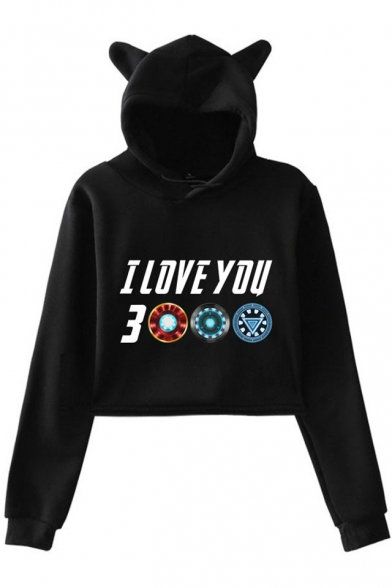 New Trendy Letter I Love You 3000 Long Sleeve Cute Cat Ear Design Cropped Hoodie for Girls, Black;dark navy;pink;white;gray, LM521682