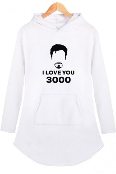 Popular Letter I Love You 3000 Figure Pattern Long Sleeve Hooded Dress