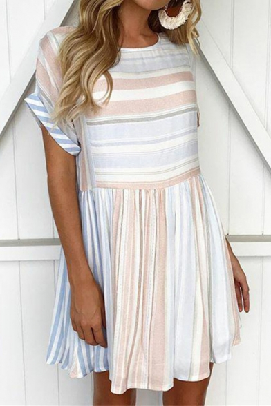 Summer Basic Round Neck Short Sleeve Fashion Striped Printed Mini A-Line Pleated Dress