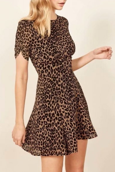 Summer Chic Khaki Leopard Printed Round Neck Short Sleeve Mini A-Line Dress