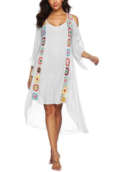 Summer Cool Floral Printed V-Neck Cut Out Long Sleeve Asymmetric Hem Midi Beach Dress