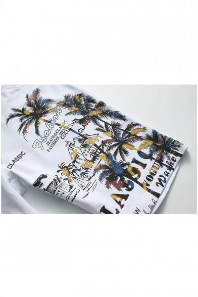 Summer Hawaii Tropical Plants Printed Drawstring Waist Beach Shorts Swim Trunks