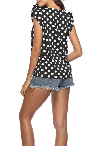 Summer New Stylish Polka Dot Printed Ruffled Sleeve Black Chiffon Blouse Top