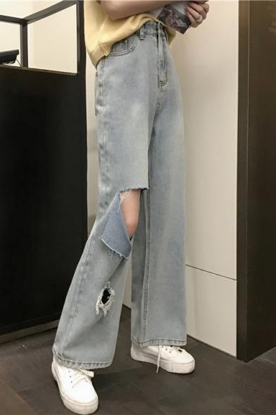 Summer Vintage Light Blue Women's High Waist Cutout Wide Legs Straight Fit Jeans