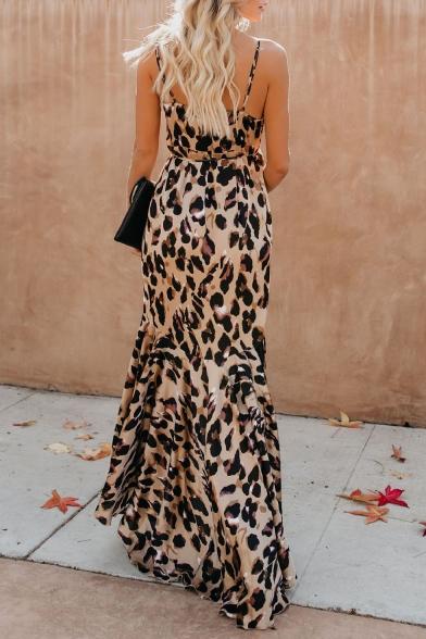Women's Hot Fashion Sexy Khaki Leopard Print V-Neck Sleeveless Bow-Tied Waist Maxi Asymmetrical Dress