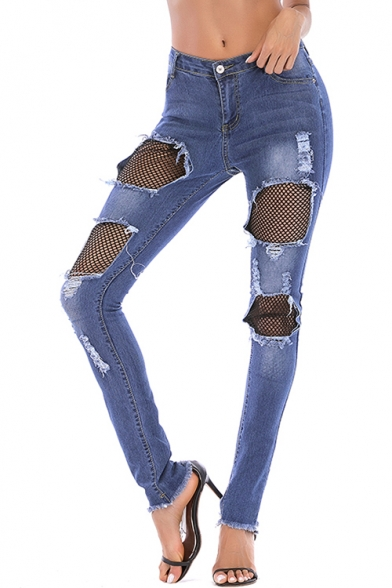 Womens Dark Blue Stylish Fishnet Lace Patched Ripped Slim Fit Jeans