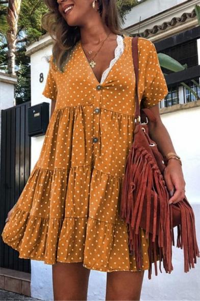 Womens New Fashion Polka Dot Printed Short Sleeve V-Neck Button Front Mini Swing Dress