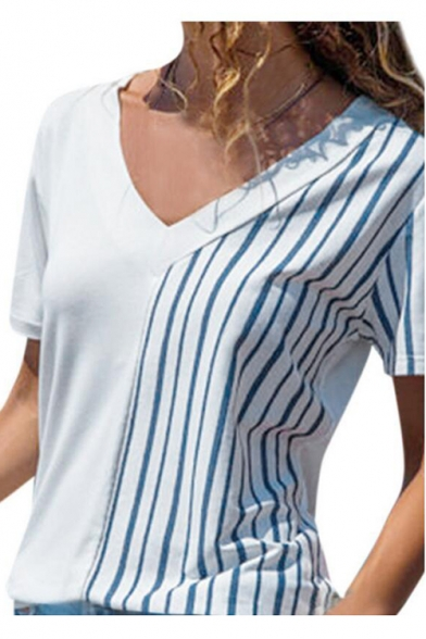 Blue and White Stripe Printed V Neck Short Sleeve Tee for Women