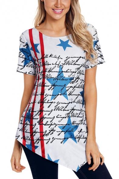 Cool Letter Stripe Star Flag Printed Asymmetrical Hem Cotton T-Shirt