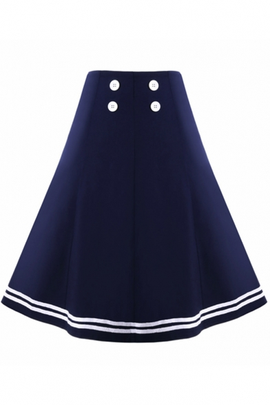 Fashion Vintage Double Button Fly Front Dark Blue Midi A-Line Flare Skirt