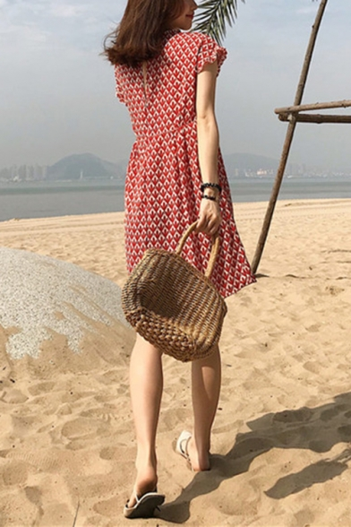 Girls Summer Fashionable Leaf Printed V-Neck Short Sleeve Mini A-Line Red Chiffon Dress