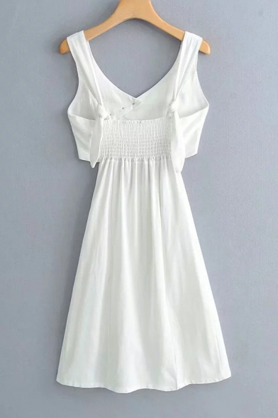 Girls Summer Solid Color Chic Button Embellished V-Neck Sleeveless Cutout Waist Mini White A-Line Dress