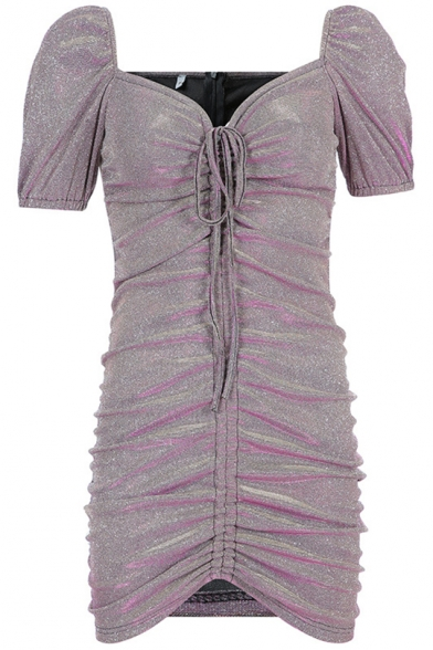 Girls Summer Vintage V-Neck Puff Sleeve Drawstring Front Mini Sequined Purple Dress