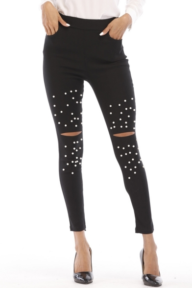 Hot Fashion Beading Embellished Cut Out Womens Black Skinny Fit Jeggings Leggings