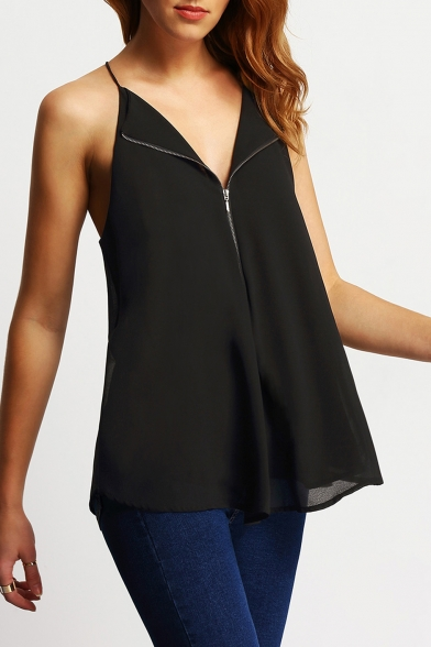 Hot Fashion Solid Color Zipper Front Womens Casual Black Sleeveless Chiffon Top