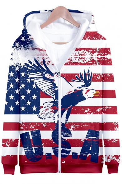 Independence Day Fashion Flag Printed Casual Loose Zip Up Hoodie