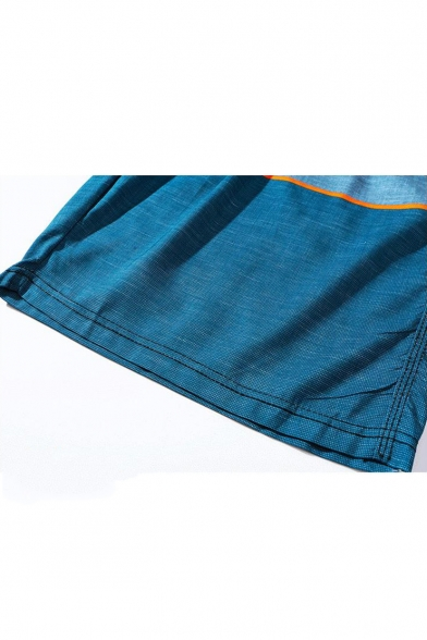 Men's Fashion Colorblock Drawstring Waist Quick Drying Blue Surfing Swim Trunks with Liner