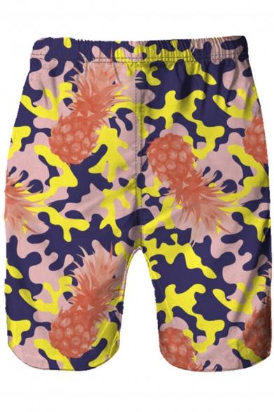 Men's Hot Fashion Camo Pineapple Pattern Elastic Waist Loose Casual Swim Trunks