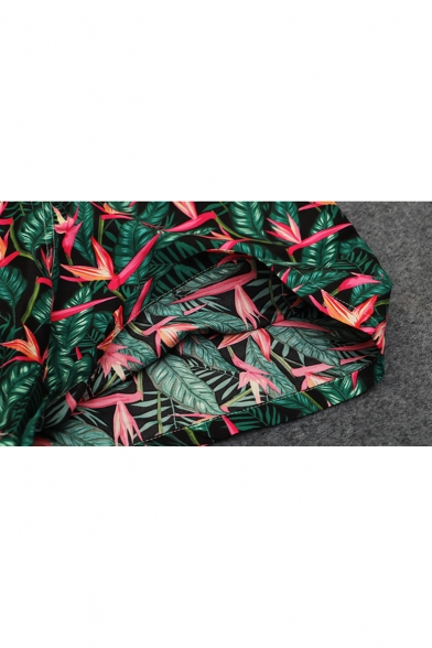 New Fashion Summer Green Tropical Leaf Print Mens Holiday Casual Quick Dry Swim Shorts