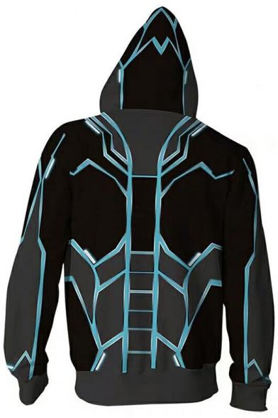 New Trendy 3D Contrast Trim Iron Reactor Printed Long Sleeve Zip Up Grey Hoodie