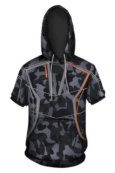 New Trendy Camo Printed Sport Loose Short Sleeve Grey Hoodie