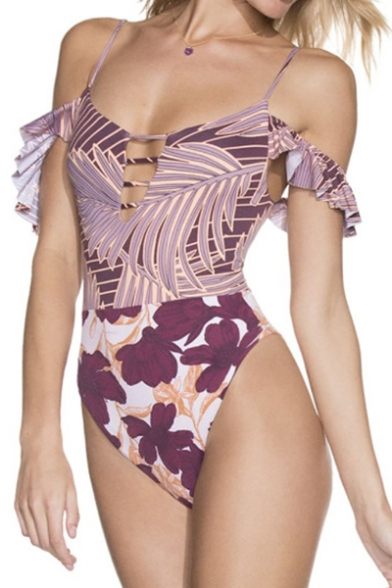 New Trendy Floral Leaf Printed Ruffle Hem Crisscross Back High Leg One Piece Swimsuit for Women