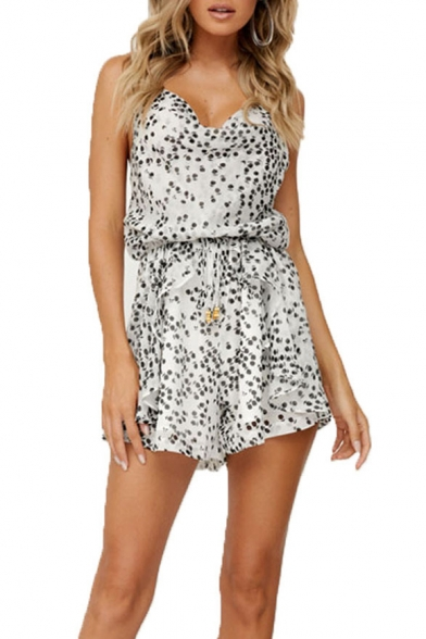 New Trendy Floral Printed Tied Waist Summer Casual Chiffon Strap Rompers