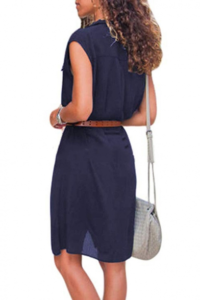 New Trendy Plain Print Sleeveless Lapel Collar Belted Waist Button Down Mini Shirt Dress For Women