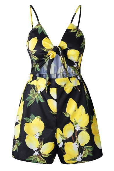 Summer Fashion Lemon Printed Bow-Tied Cut Out Front Womens Strap Romper Playsuit