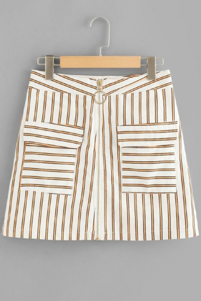 Trendy Yellow Stripe Printed Zipper Front Mini A-Line Skirt