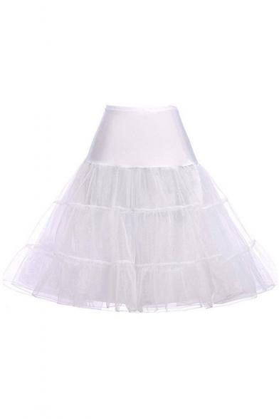 Vintage Solid Color A-Line Underskirt Swing Celebrity Pettiskirt for Girls