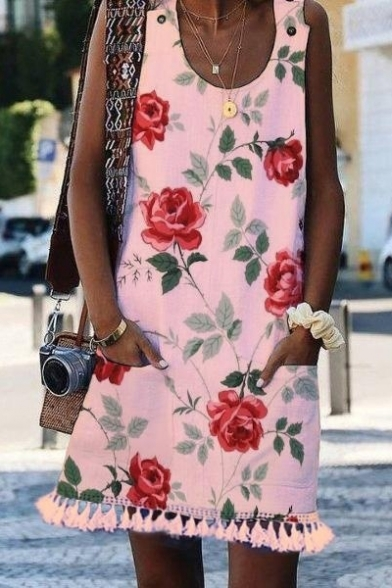 Women's Hot Fashion Red Floral Printed Scoop Neck Sleeveless Tassel Hem Detail Mini Tank Dress