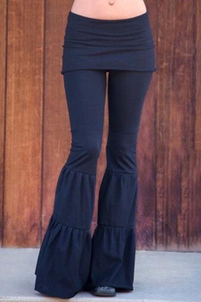 Women's Hot Popular Simple Plain Patchwork Slim Fit Flare Pants