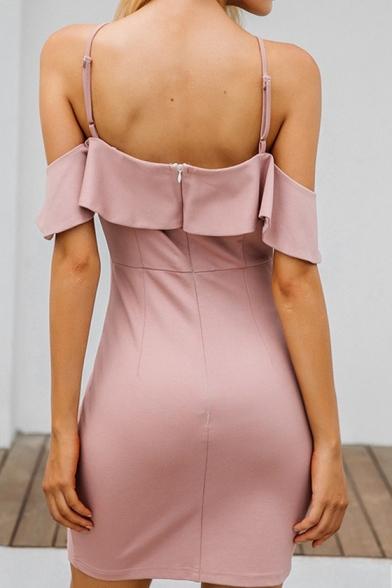 Women's Hot Sale Plain Printed Cold Shoulder Short Sleeve Ruffle Detail Mini Slip Pink Dress