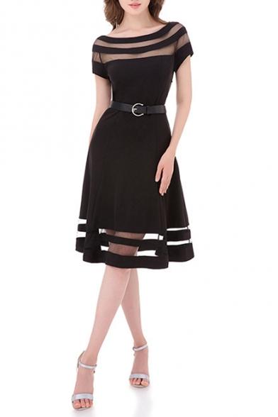 Women's New Fashion Mesh Paneled Round Neck Short Sleeve Belted Waist Black Midi A-Line Dress