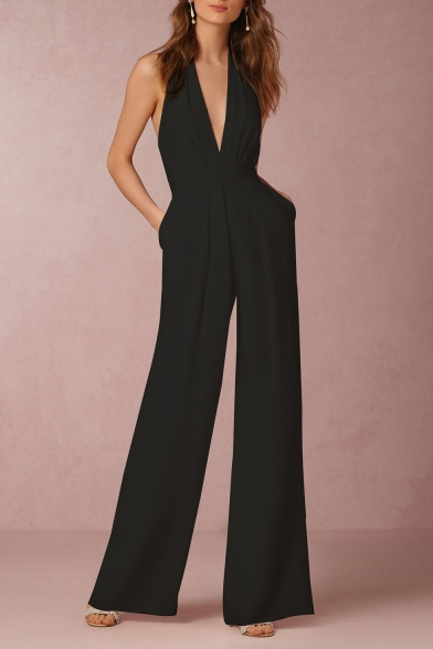 Women's New Fashion Solid Color Sexy Halter Plunged Neck Wide-Leg Jumpsuits with Pockets