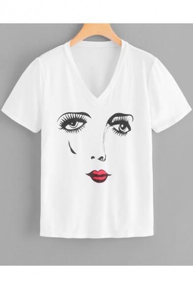 Women's New Style White V-Neck Short Sleeve Figure Printed Tee