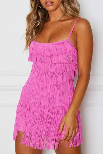 Women's Sexy Hot Style Sleeveless Square Neck Plain Layered Tassel Hem Mini Cami Nightclub Dress