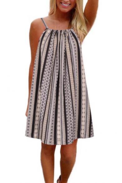 Women's Sexy Sleeveless Square Neck Geometric Printed Tie Back Mini Slip Dress