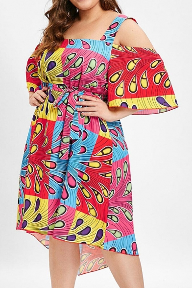 Women's Summer Trendy Color Block Printed Cut Out Short Sleeve Square Neck Bow-Tied Waist Midi Oversize Red Dress