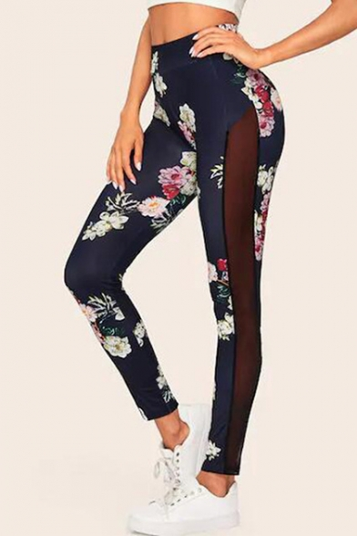 Womens Chic Floral Printed Sexy Sheer Mesh Panel Side Navy Skinny Fit Leggings