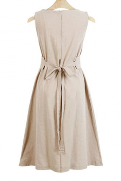 Womens Chic Simple Solid Color Round Neck Sleeveless Tied Waist Midi A-Line Dress
