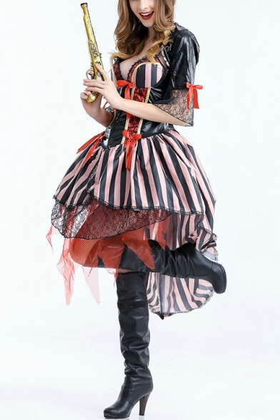 Womens Halloween Pirate Cosplay Costume Bow Tied Corset High Low Swing Dress