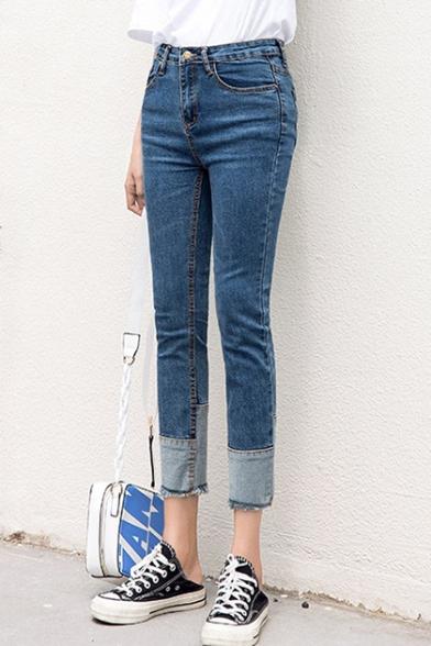 Womens High-Waisted Fashion Patchwork Hem Regular Fit Blue Capri Jeans